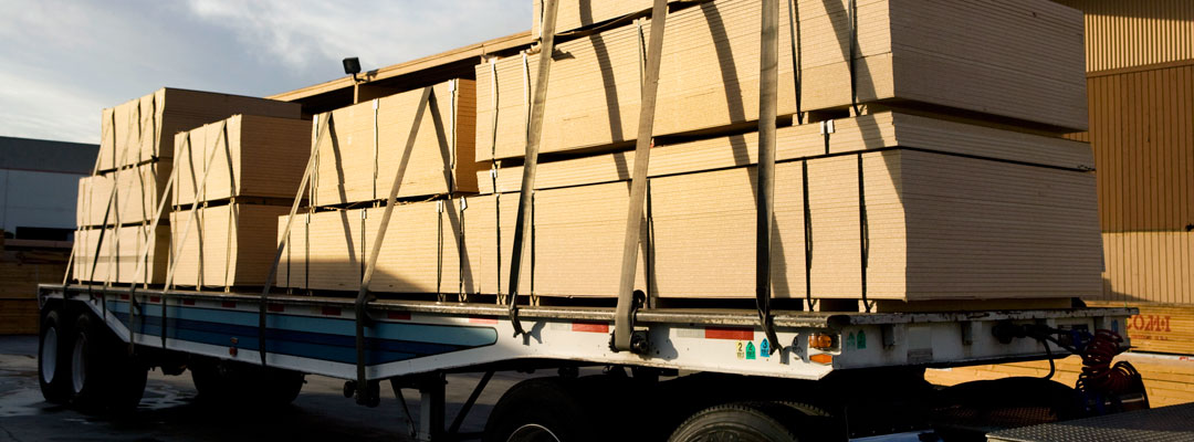 Building products on delivery truck